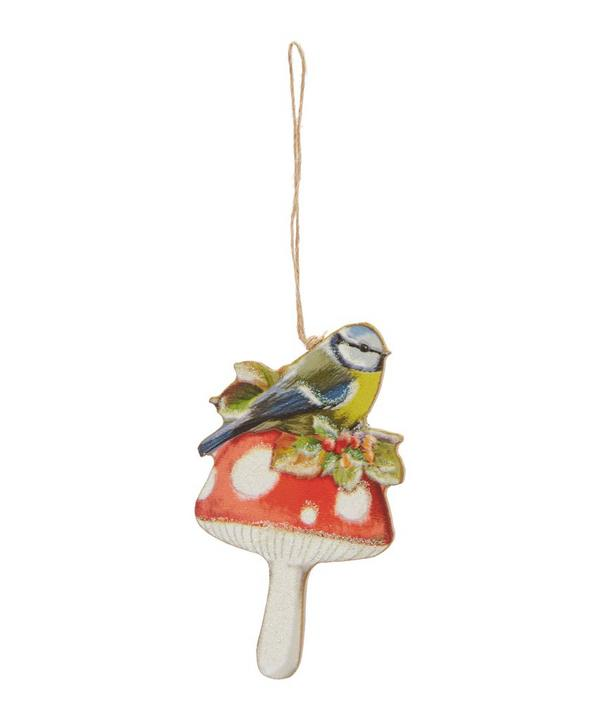 Wooden Forest Blue Tit On Toadstool Decoration