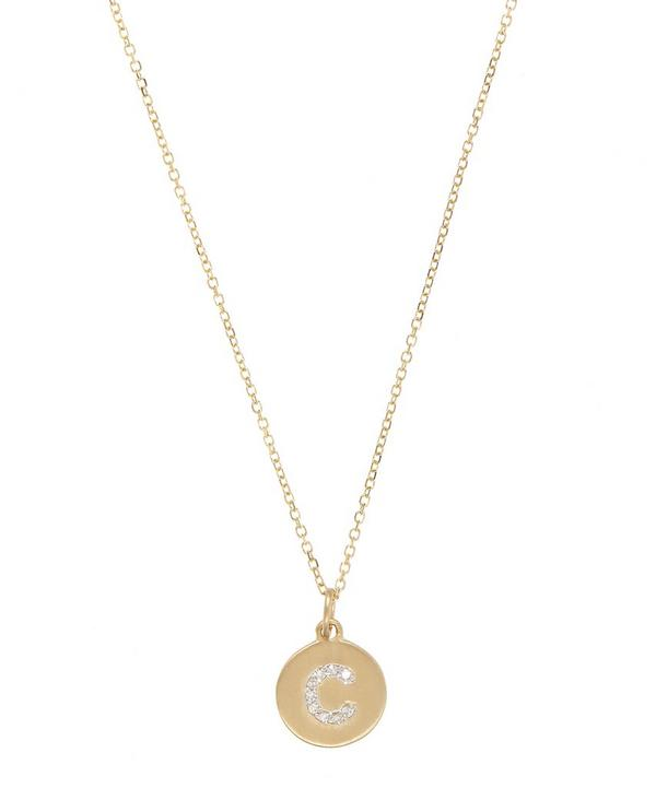 Gold and Diamond Letter C Disc Pendant Necklace