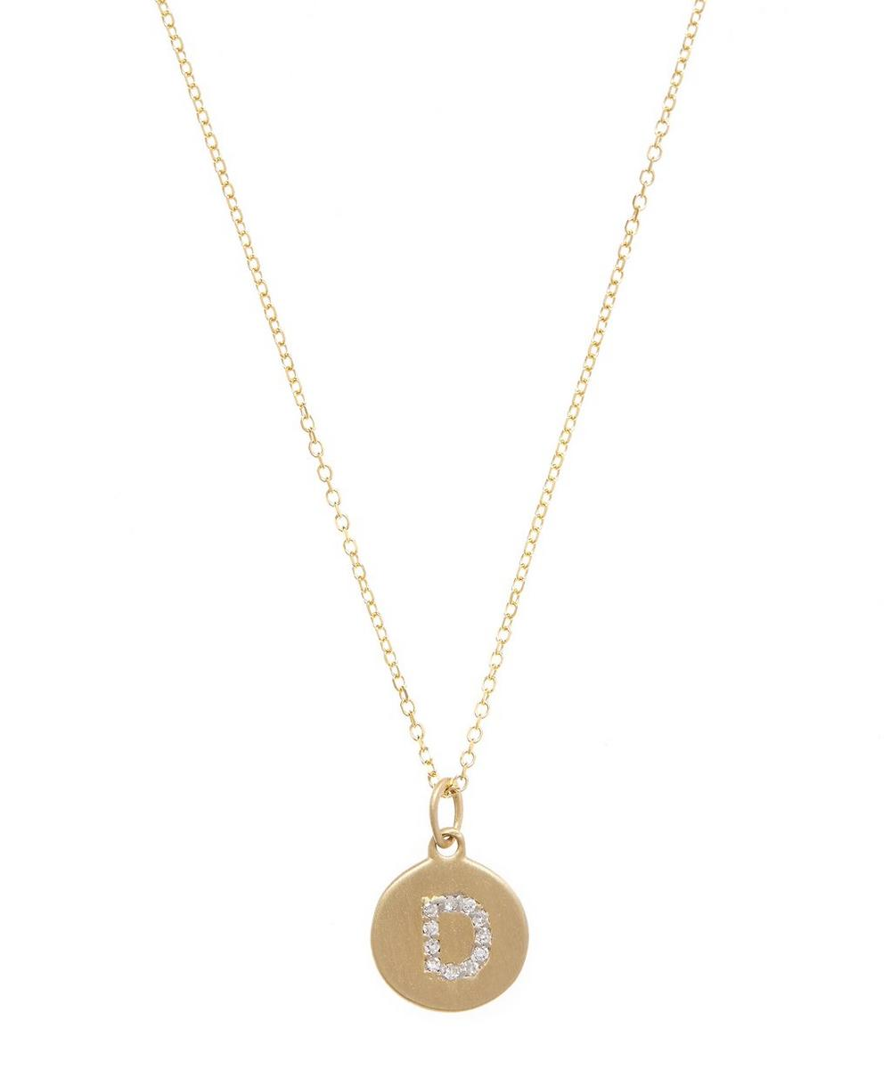 Gold and Diamond Letter D Disc Pendant Necklace