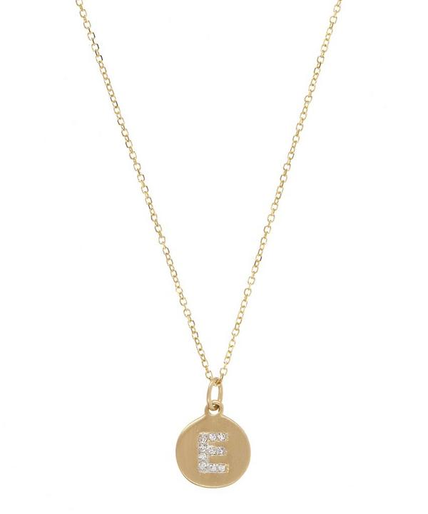 Gold and Diamond Letter E Disc Pendant Necklace