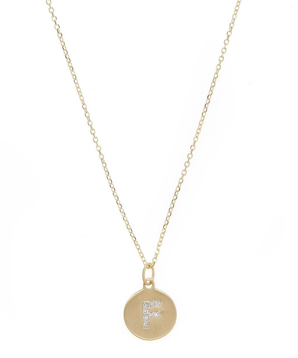 Gold and Diamond Letter F Disc Pendant Necklace