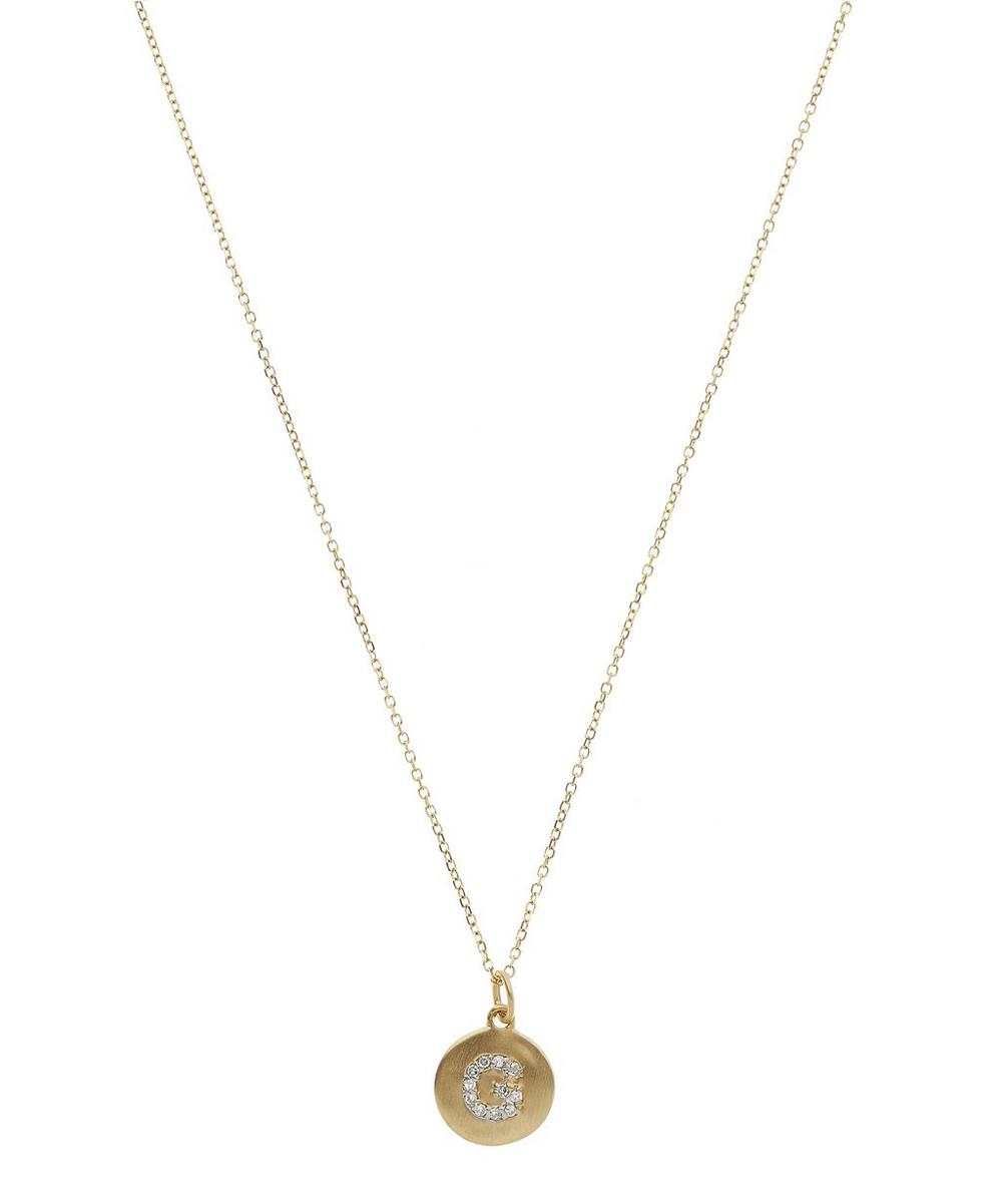 Gold Disc Diamond Letter G Necklace