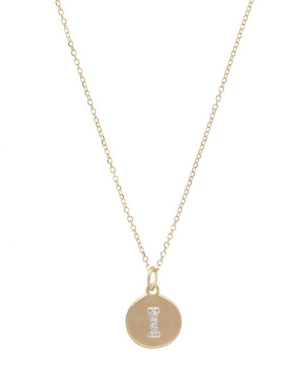 Gold and Diamond Letter I Disc Pendant Necklace