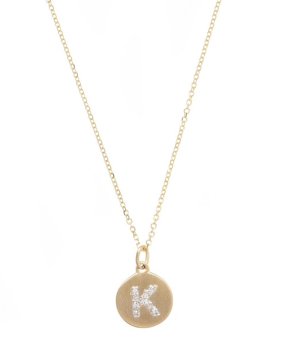Gold and Diamond Letter K Disc Pendant Necklace