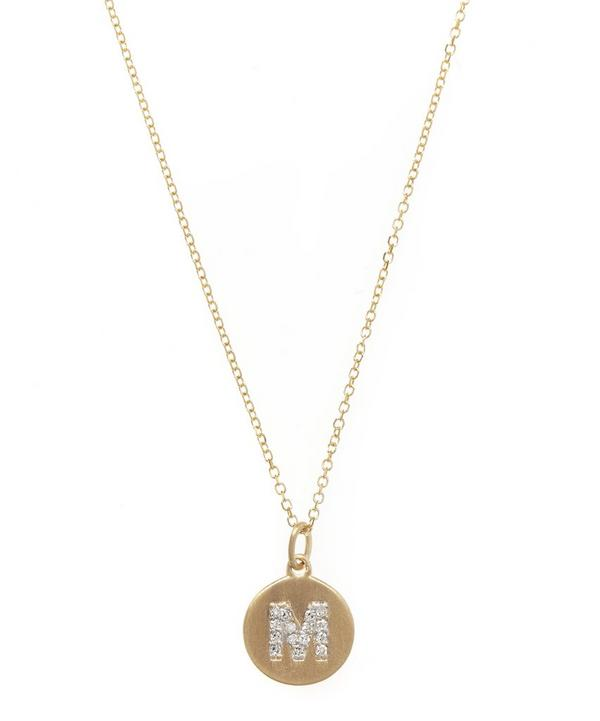 Gold and Diamond Letter M Disc Pendant Necklace