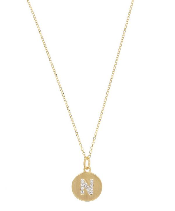 Gold and Diamond Letter N Disc Pendant Necklace