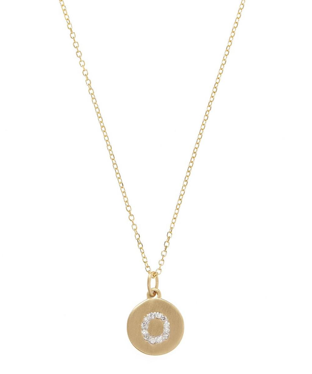 Gold and Diamond Letter O Disc Pendant Necklace