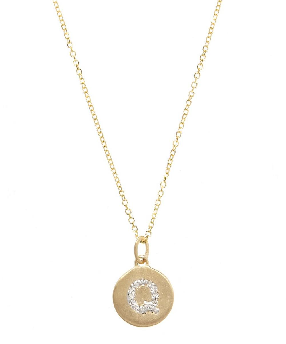 Gold and Diamond Letter Q Disc Pendant Necklace