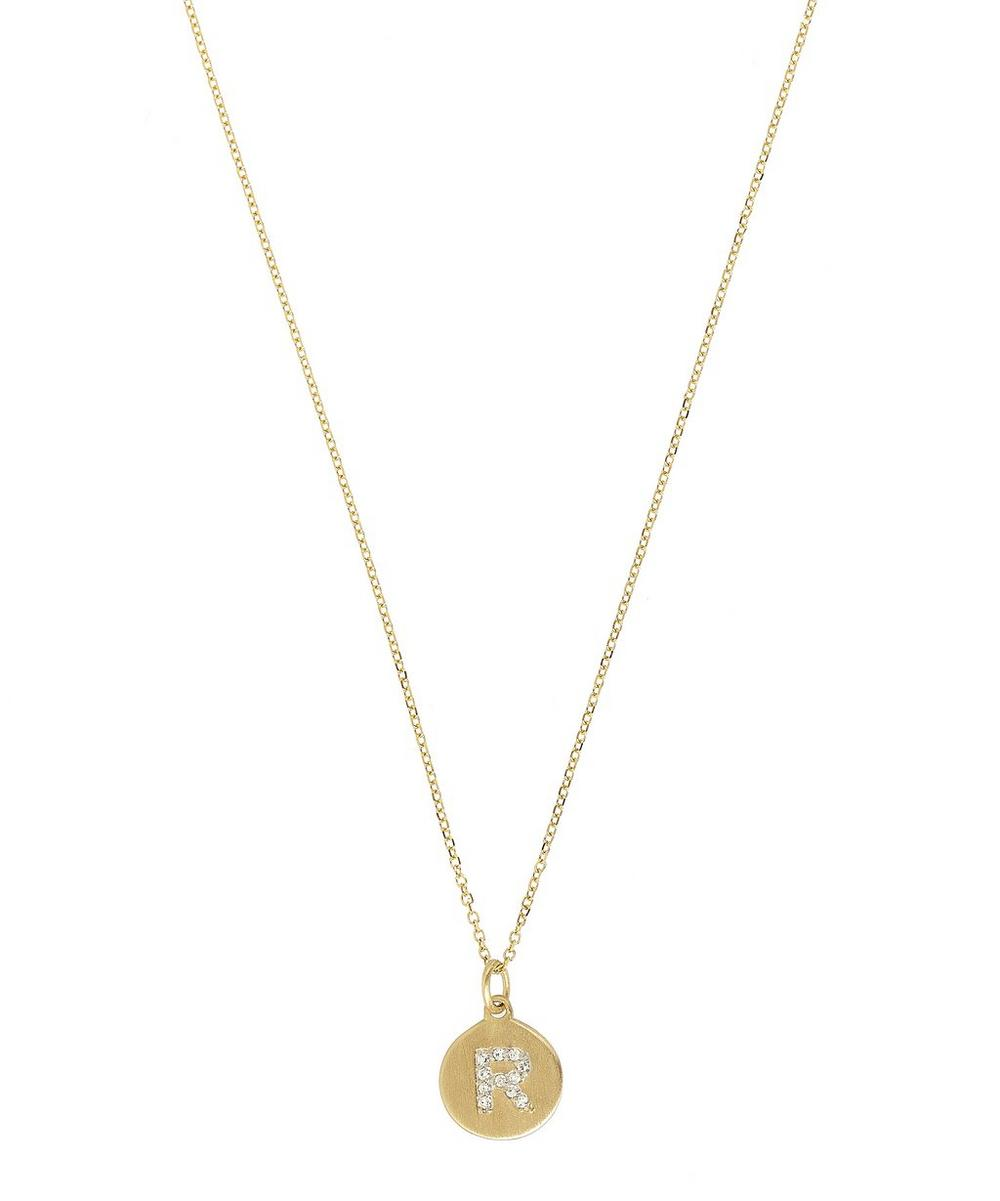 Gold and Diamond Letter R Disc Pendant Necklace