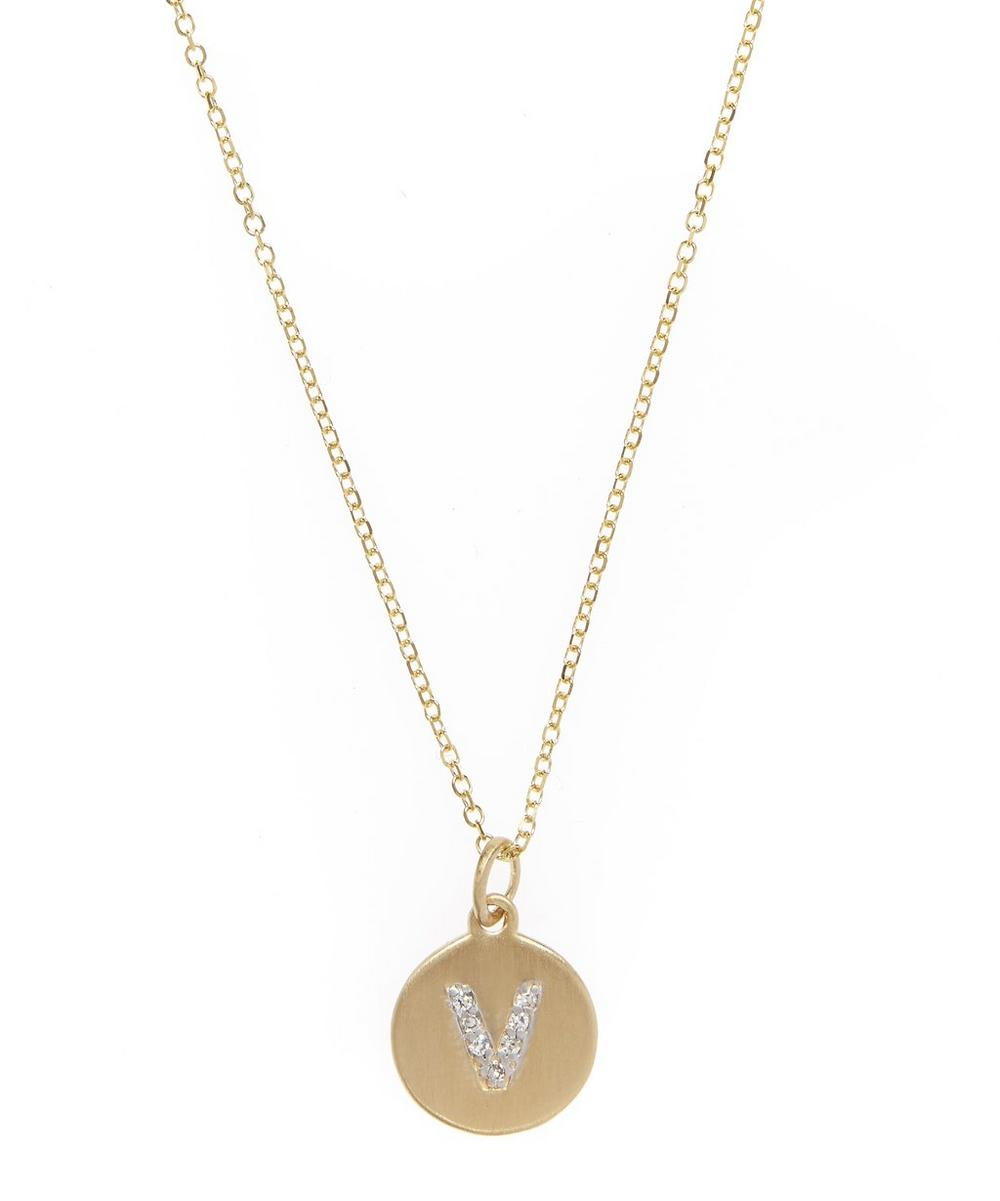 Gold and Diamond Letter V Disc Pendant Necklace