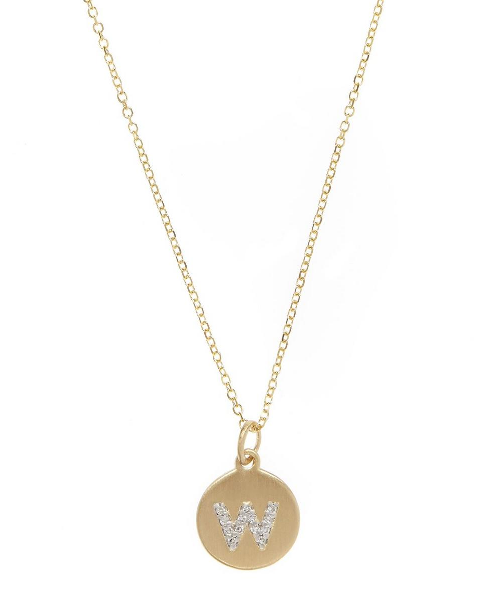 Gold and Diamond Letter W Disc Pendant Necklace
