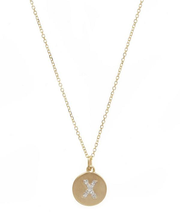 Gold and Diamond Letter X Disc Pendant Necklace