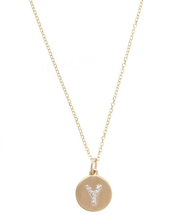 Gold and Diamond Letter Y Disc Pendant Necklace