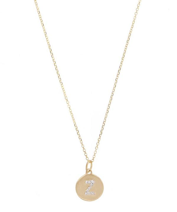 Gold and Diamond Letter Z Disc Pendant Necklace