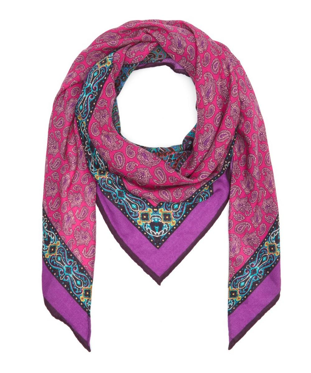 Triangle Paisley Cashmere-Blend Scarf