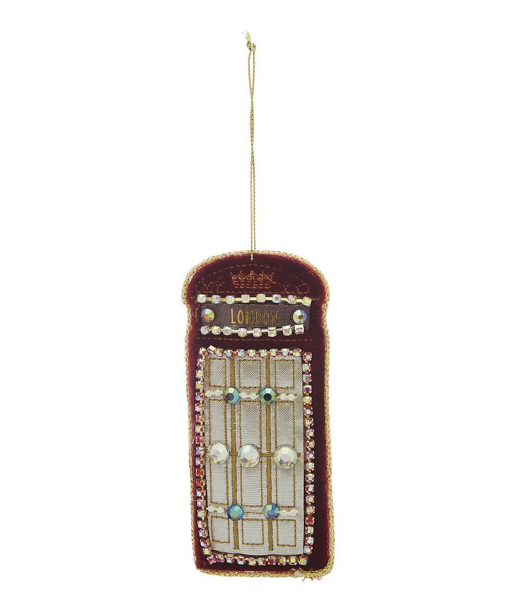 Velvet Red Telephone Box Decoration