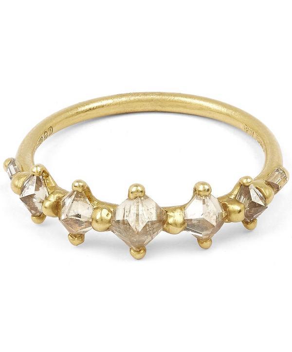 Gold Five Princess Cut Diamond Halo Ring