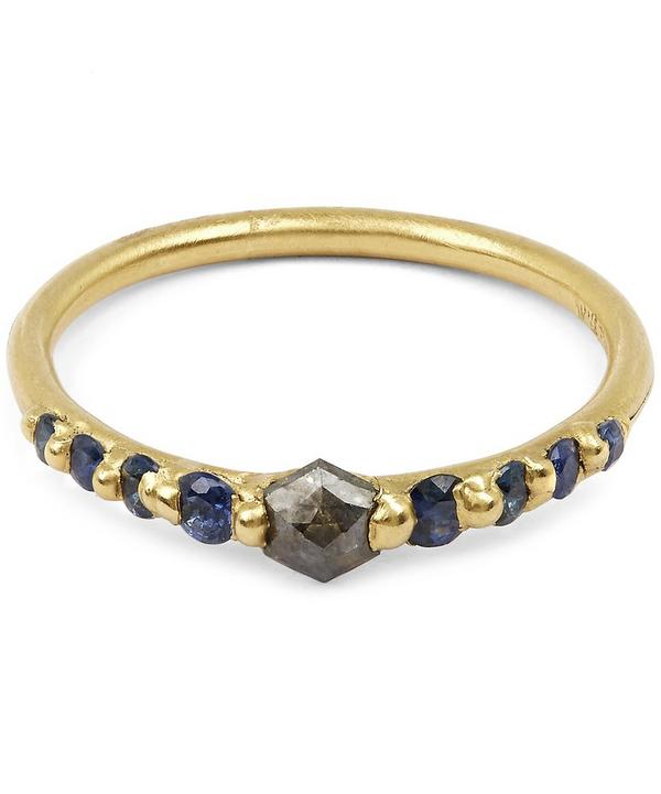Gold Hex Diamond and Blue Sapphire Halo Ring