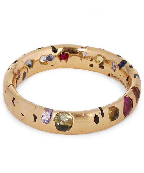 Rose Gold Rainbow Sapphire Confetti Ring