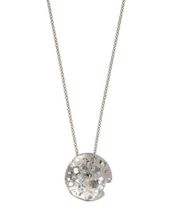 White Gold White Sapphire Spinning Disc Pendant Necklace