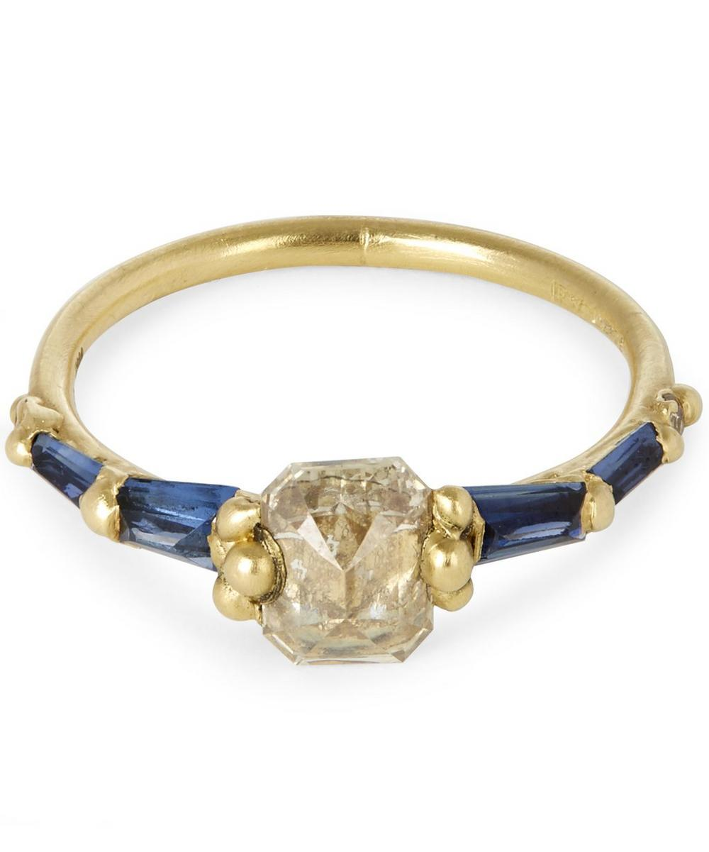 POLLY WALES ATRIUM DIAMOND HALO AND BAGUETTE SAPPHIRE RING