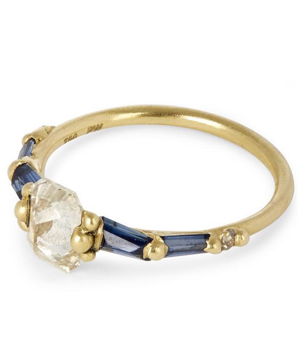 Atrium Diamond Halo and Baguette Sapphire Ring