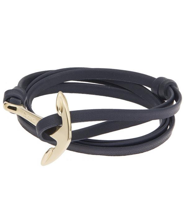 Plated Anchor Leather Bracelet