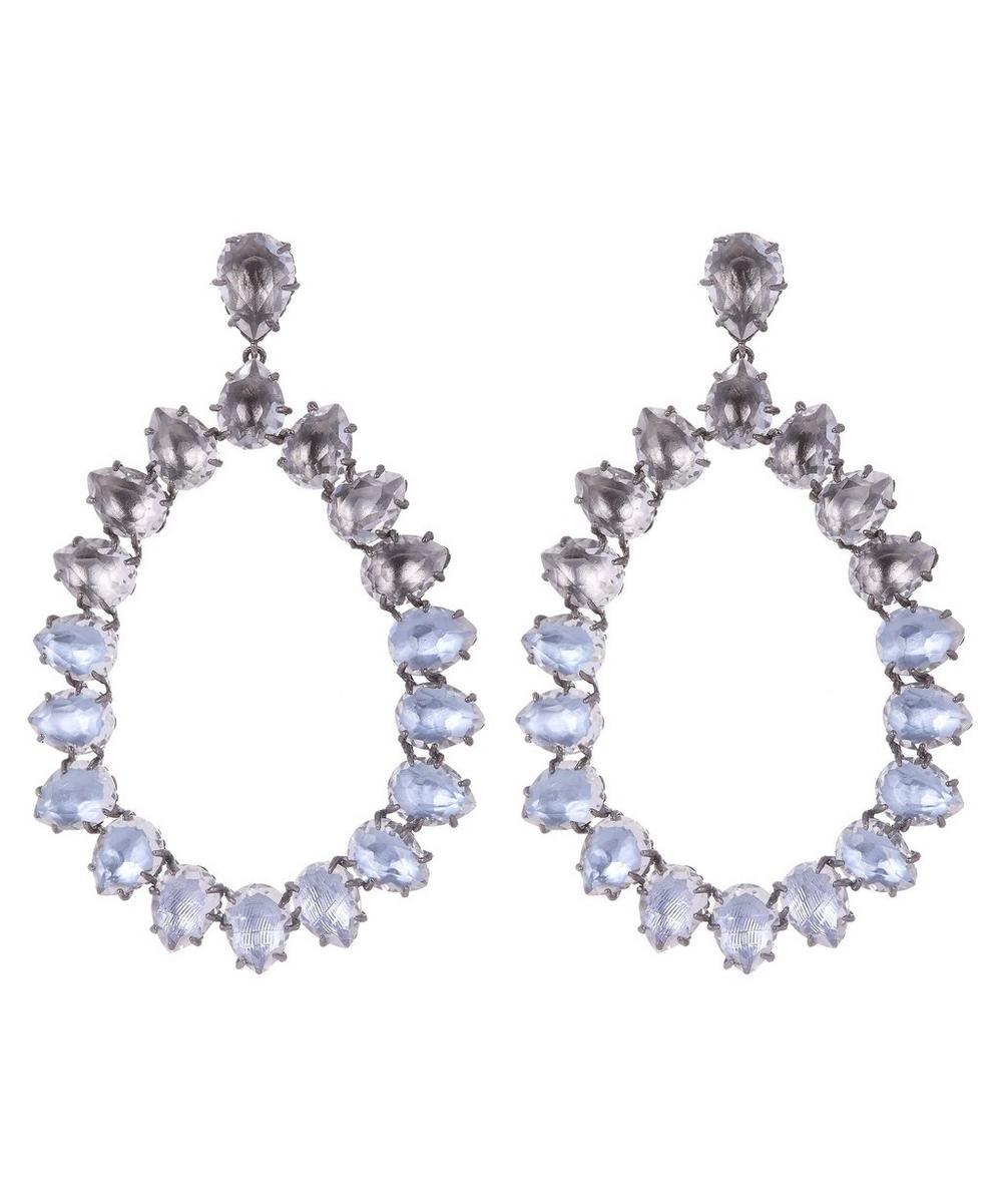 Silver Caterina Large White Quartz Frame Earrings