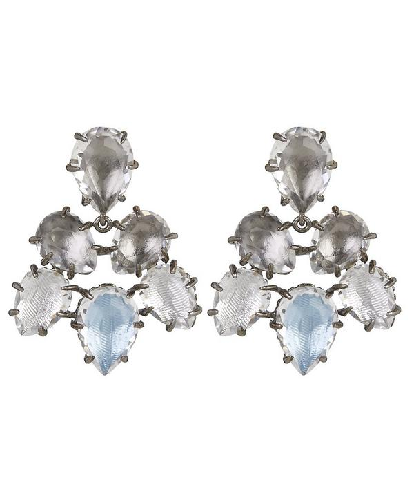 Silver and White Quartz Caterina Pansy Earrings