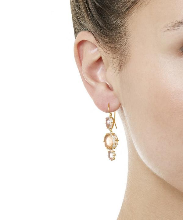 Gold-Dipped White Quartz Caterina Three Drop Earrings