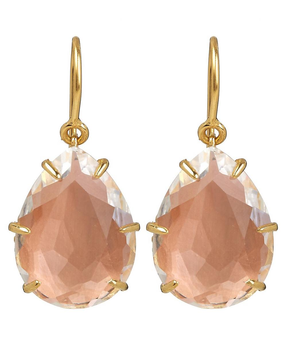 Gold-Dipped Caterina Single Quartz Drop Earrings