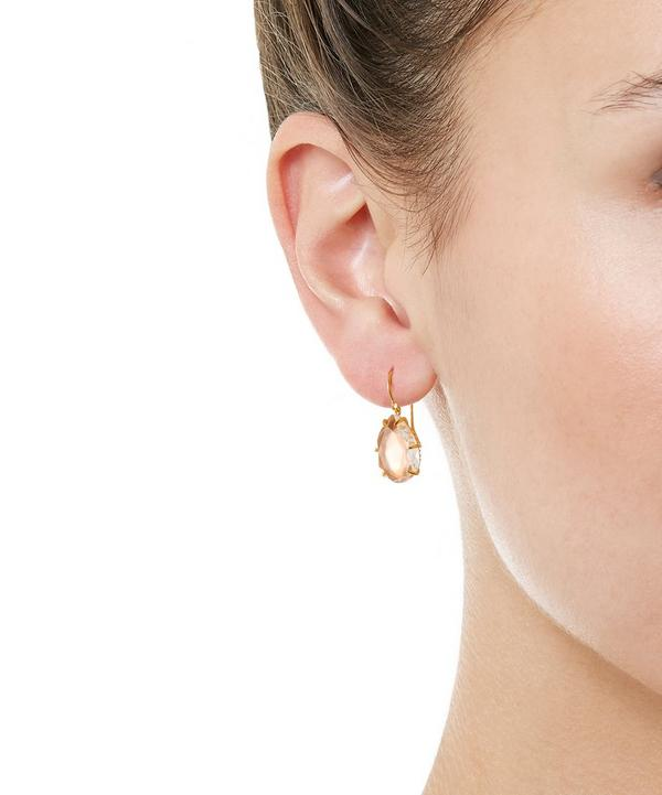 Gold-Dipped Caterina Single Quartz Drop Earrings