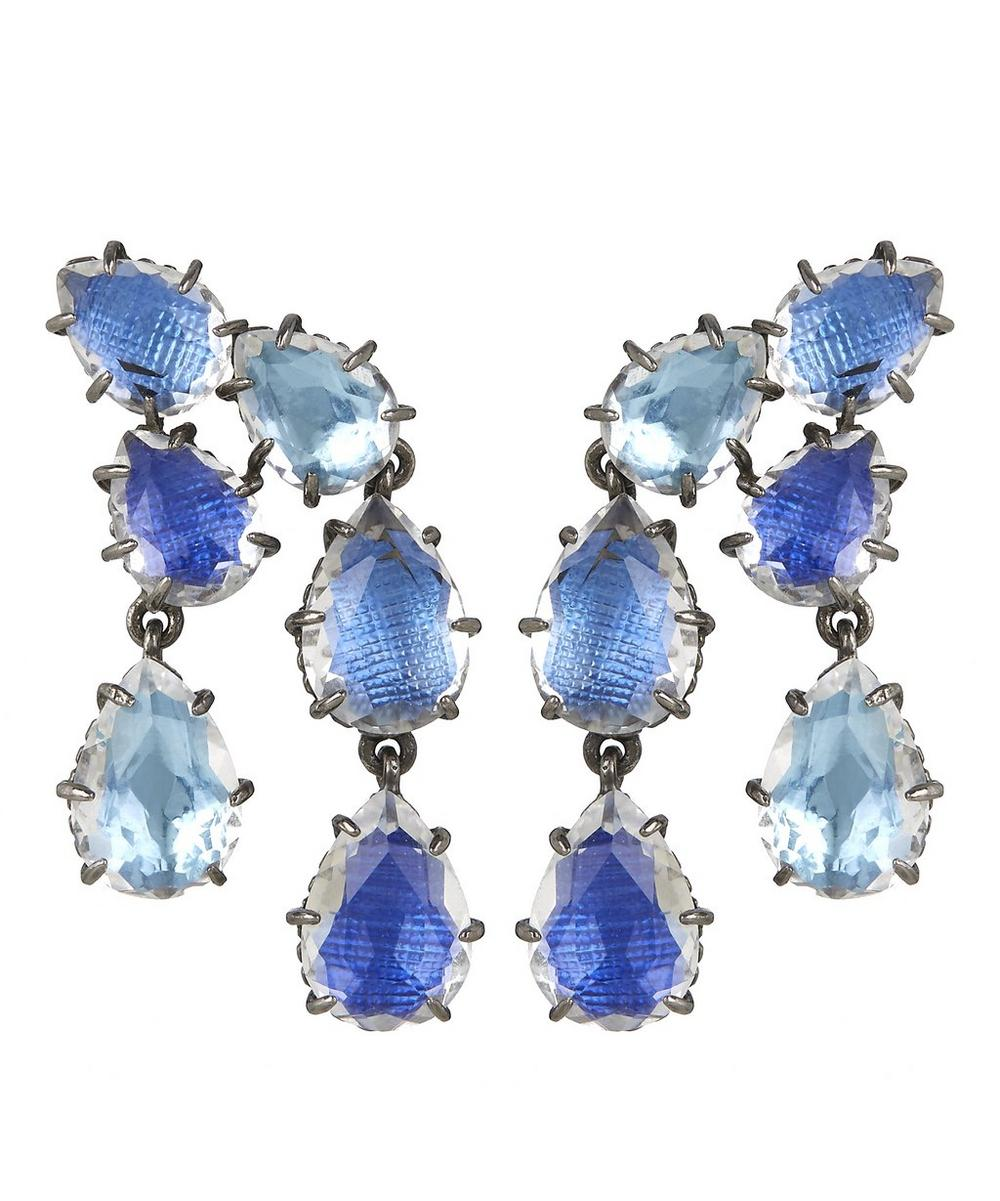Silver Caterina Double Cascade White Quartz Earrings