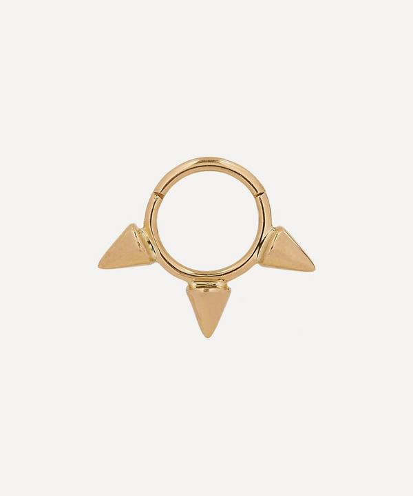 """1/4"""" Gold Small Triple Spike Earring"""
