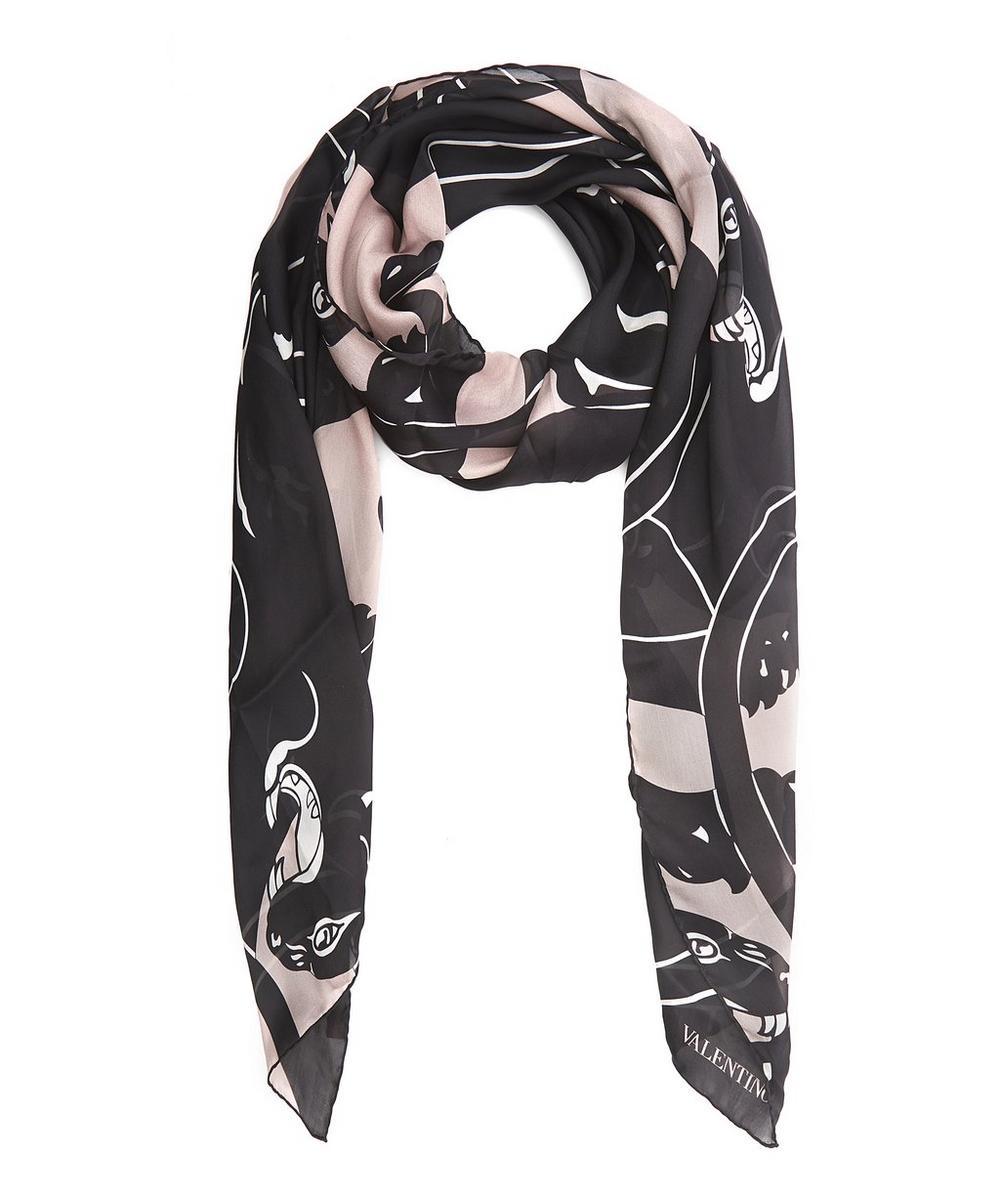 Panther Print Silk Chiffon Scarf