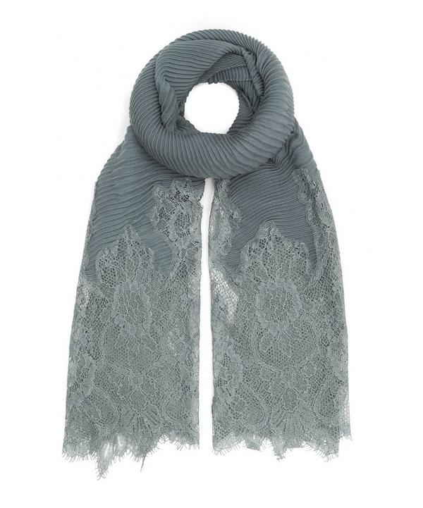Plissé Pleat and Lace Silk Scarf