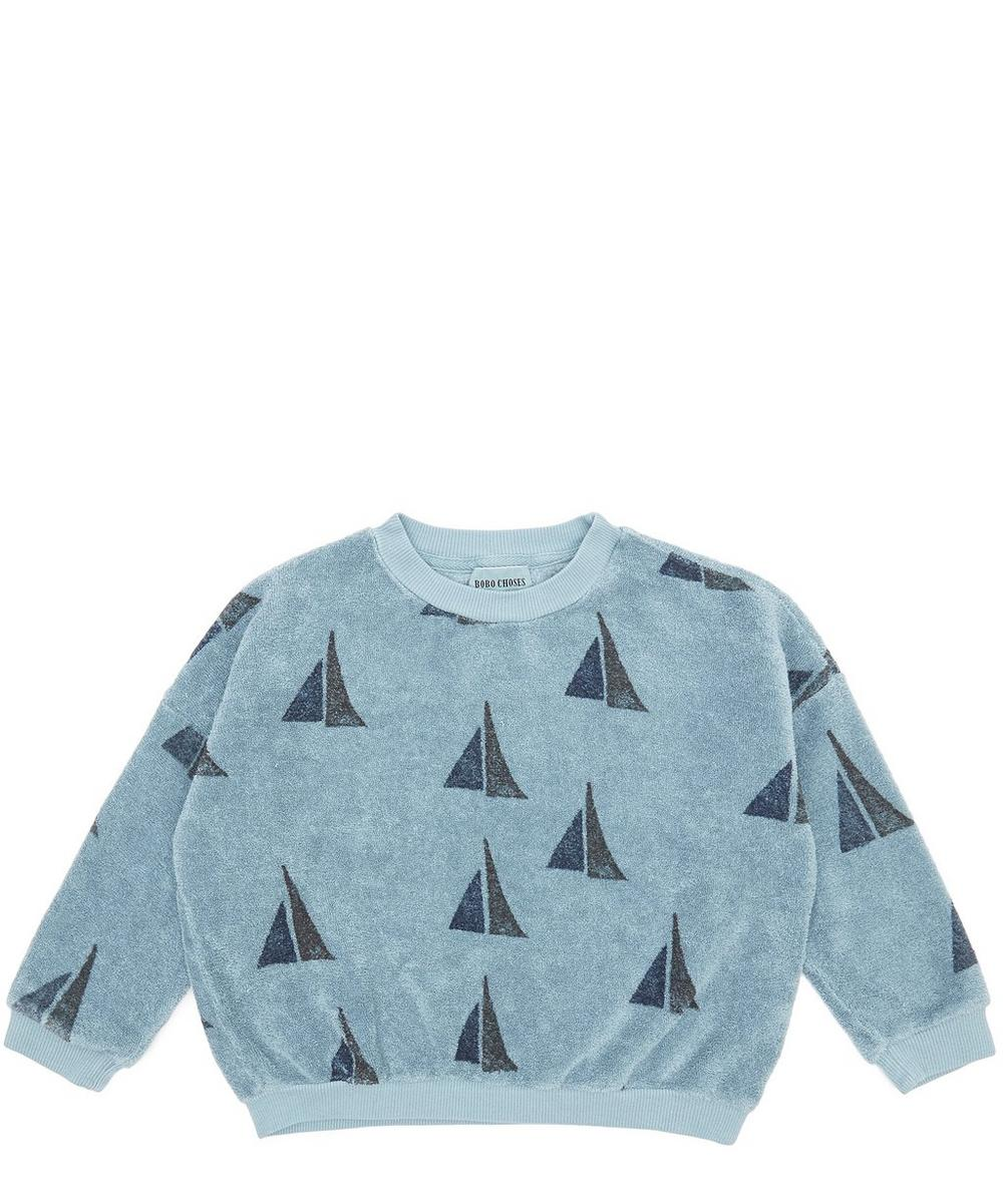 Round Neck Sailing Print Sweatshirt