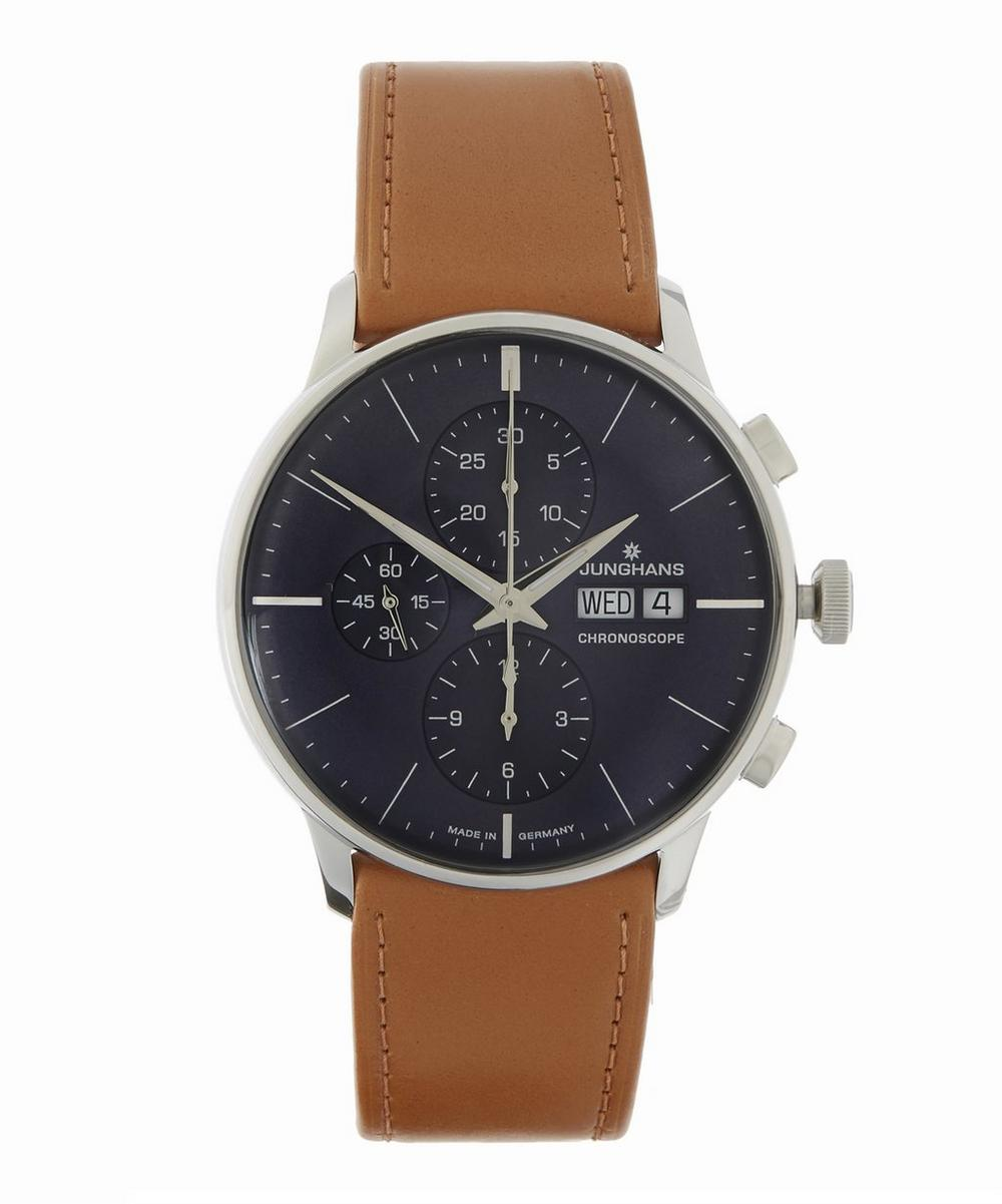 JUNGHANS MEISTER CHRONOSCOPE CHRONOGRAPH LEATHER STRAP WATCH