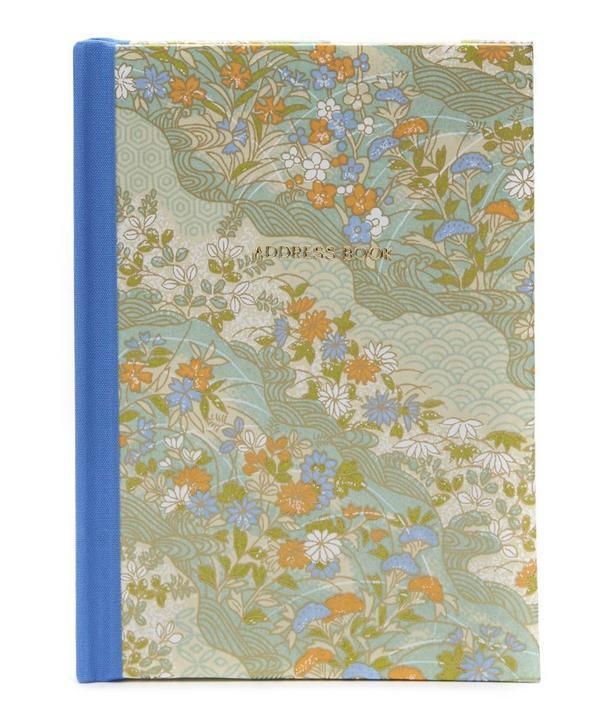 Blue and Orange Flowers Pocket Address Book