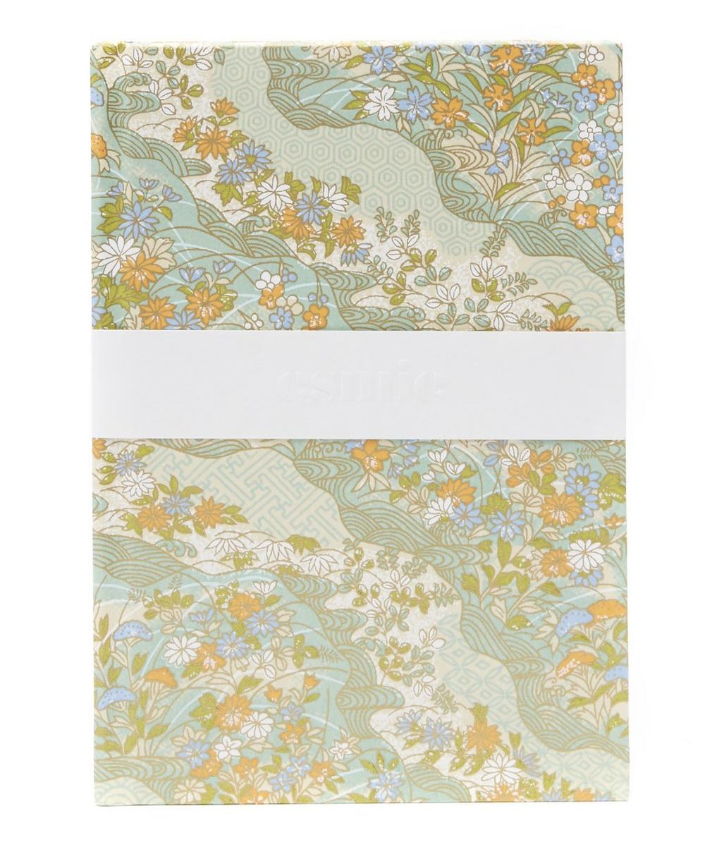Blue And Orange Flowers Medium Notebook