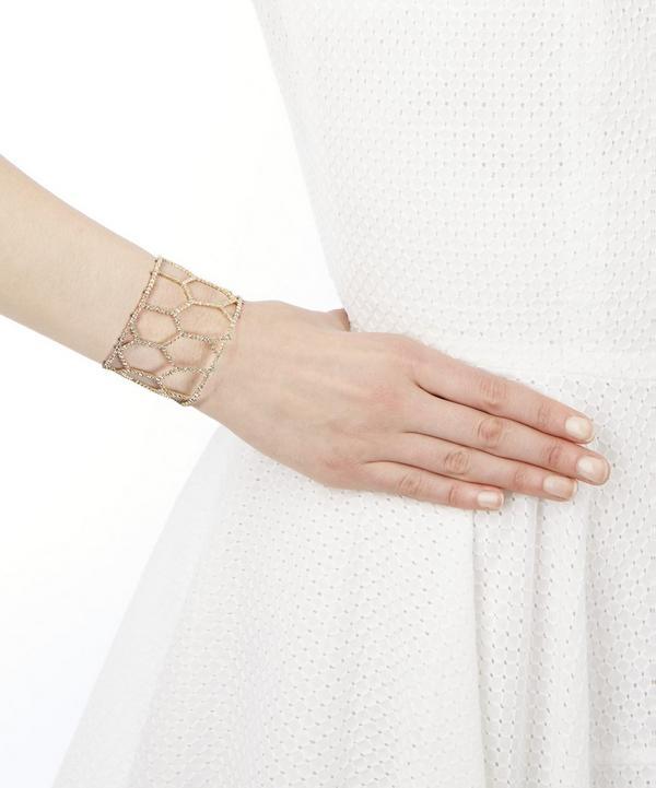 Gold Honeycomb Crystal Cuff Bracelet