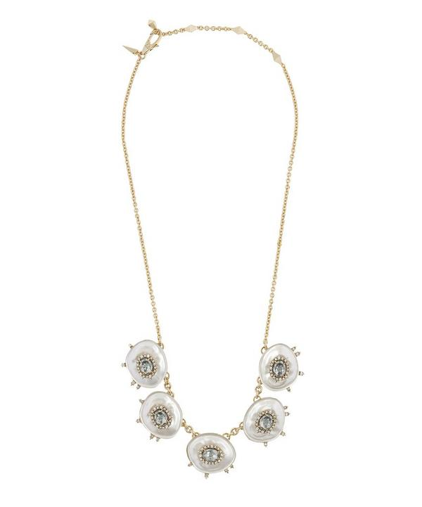 Gold Quartz and Crystal Small Bib Necklace
