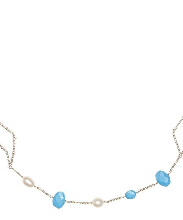 Gold and Mixed Stone Abstract Petal Station Necklace