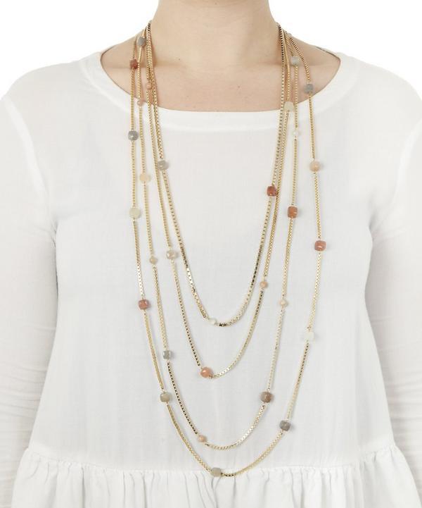 Cubi Multi-Chain Beaded Quartz Necklace