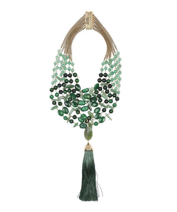 Sigillo Green Quartz Bead and Tassel Necklace