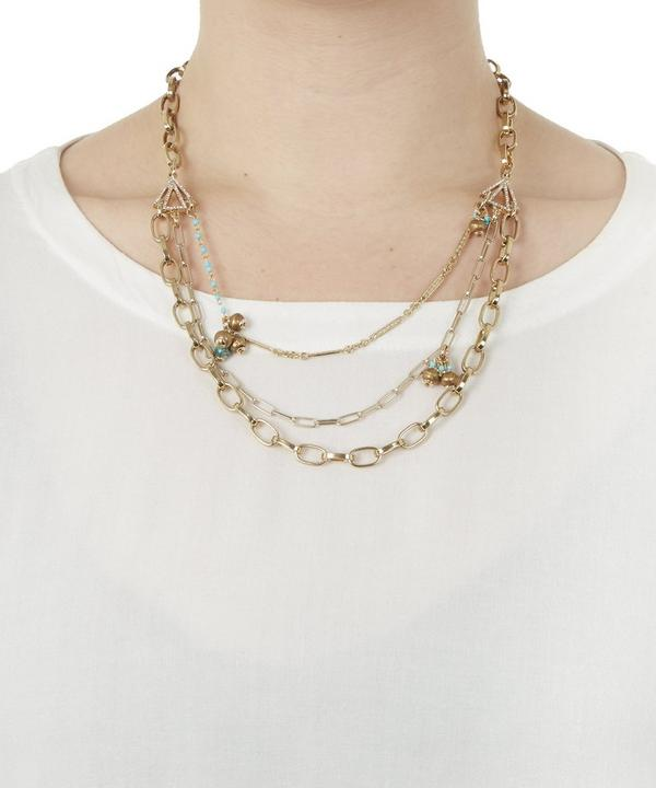 Antique Gold-Plated Discovery Triple Row Charm Necklace