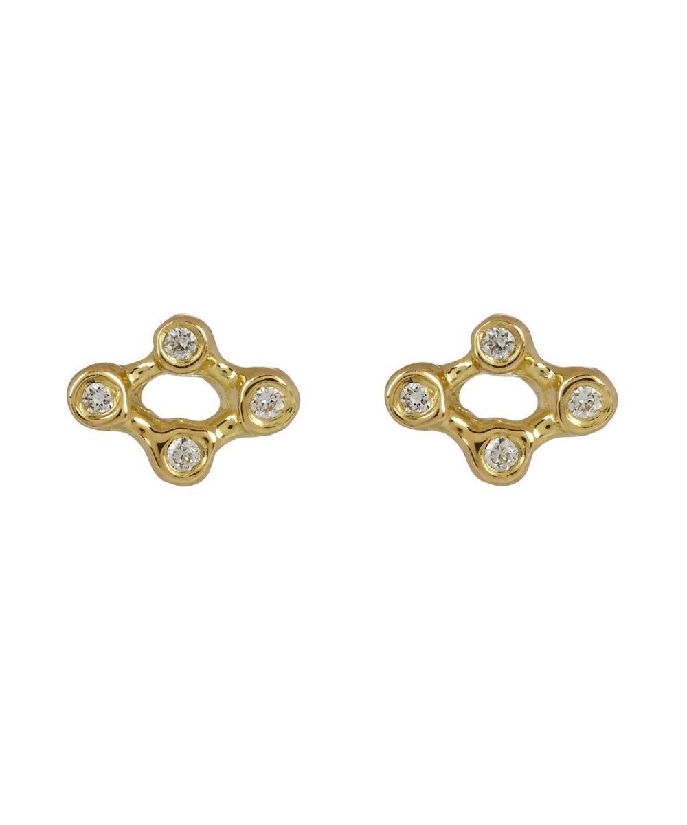 Gold and Diamond Argyle Stud Earrings