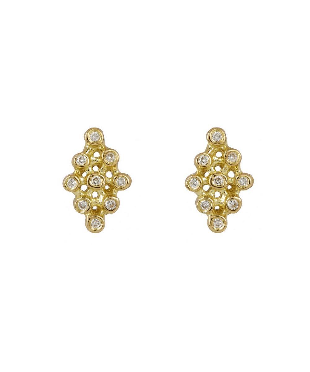 Gold and Diamond Ikat Stud Earrings