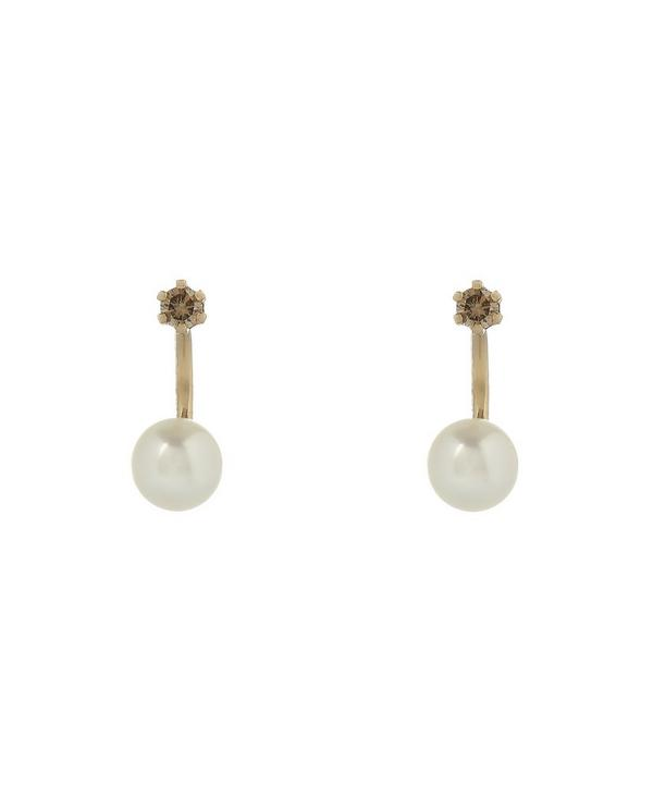 Twin Pearl and Brown Diamond Stud Earrings