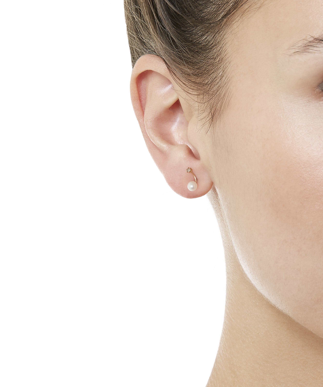 Twin Pearl and Brown Diamond Stud Earrings
